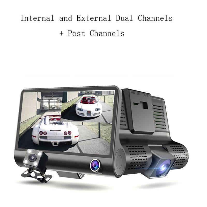 TRI-cameras car dvr,3 Lens 4 '' LCD FHD 1080p 170 Wide Angle Dashboard Camera Recorder Car Dash Cam Car DVR Dash Cam Video Recorder Rearview Camera