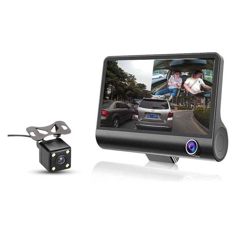 3 Lens 4 '' LCD FHD 1080p 170 Wide Angle Dashboard Camera Recorder Car Dash Cam Car DVR Dash Cam Video Recorder Rearview Camera