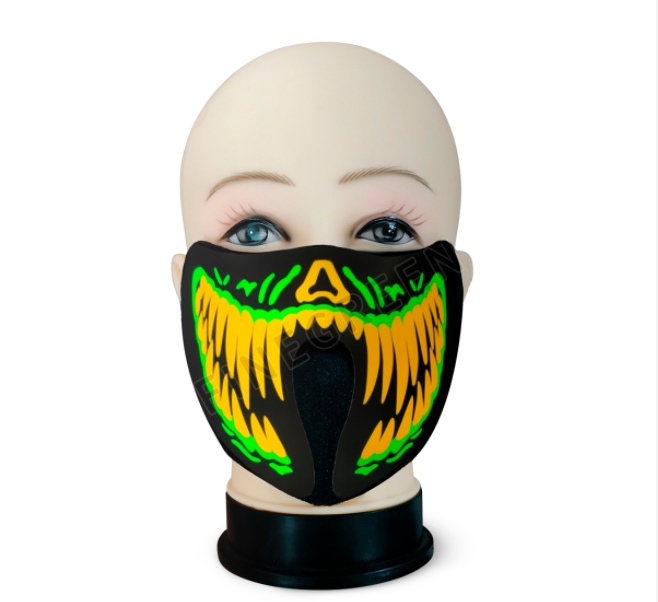 2021 Hot sale custom light up el sound activated LED panel mask for Halloween party