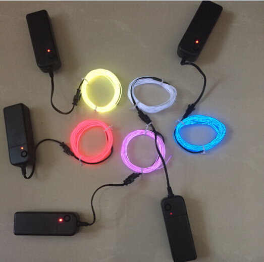 10 Colors 1M 3M Custom Battery Operated Neon Wire Electroluminescent Wire Rope 10 colors Flexible Glowing Neon EL Wire